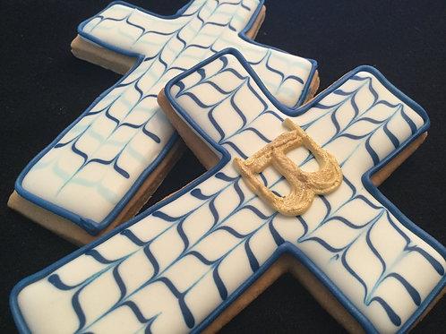 Baptism cross baby boy | Navy blue chevron pattern