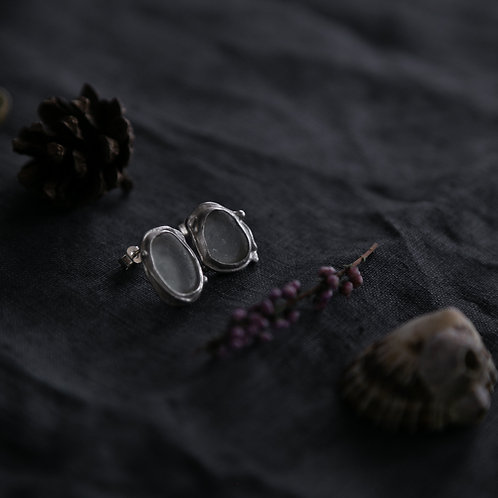 Mystic Twig Earrings  / Silver Seaglass Studs
