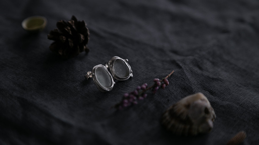 Mystic Twig Earrings  / Silver Seaglass Studs