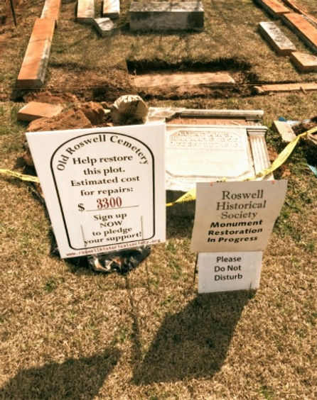 Old Roswell Cemetery monument and tombstone restoration and preservation