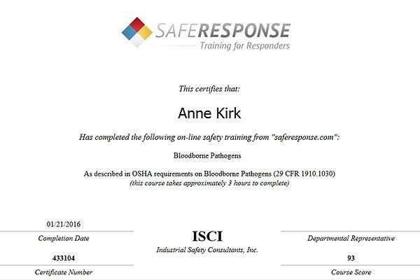 Anne Kirk Bloodborne Pathogens Certificate