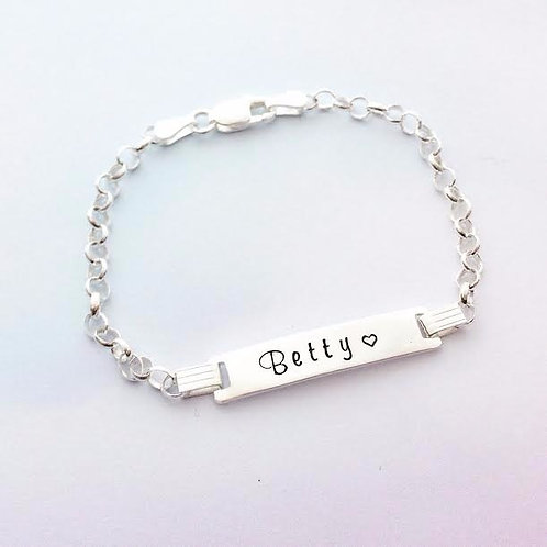 Child Sterling Silver ID Name Bracelet