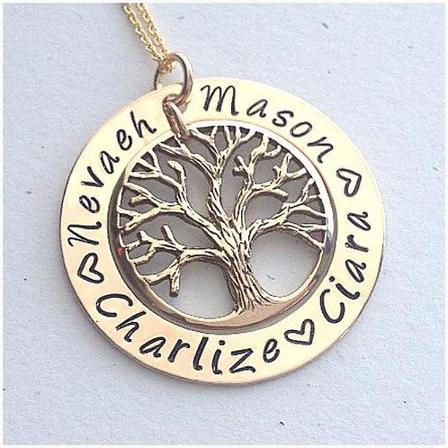 Gold Family Tree black writing