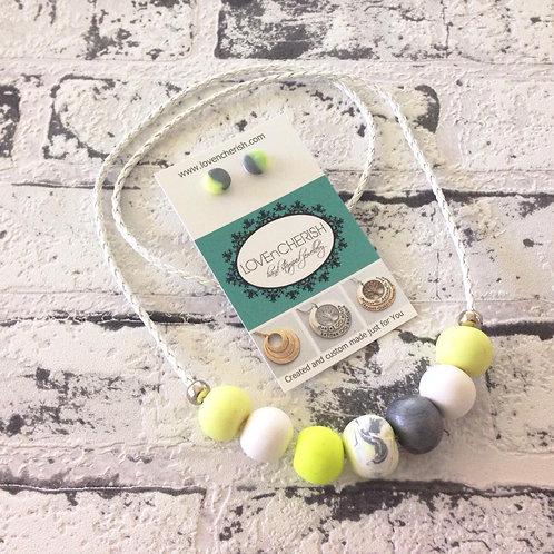 Pina Colada Bead Necklace & Earring Set