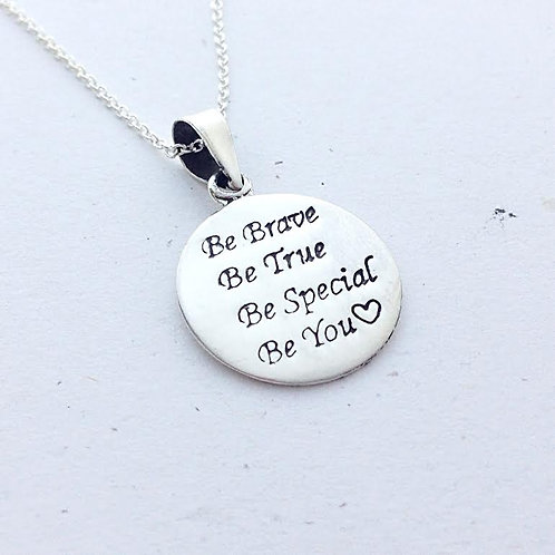 Sterling Silver Be Brave Pendant