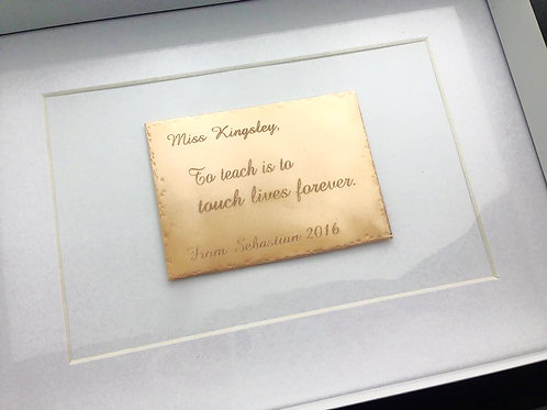 Brass Plaque Shadow Box - ON SALE