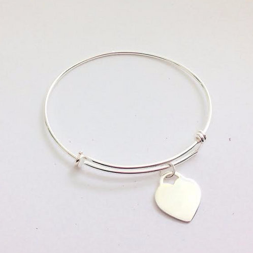 Sterling Silver Adjustable Bangle with Heart