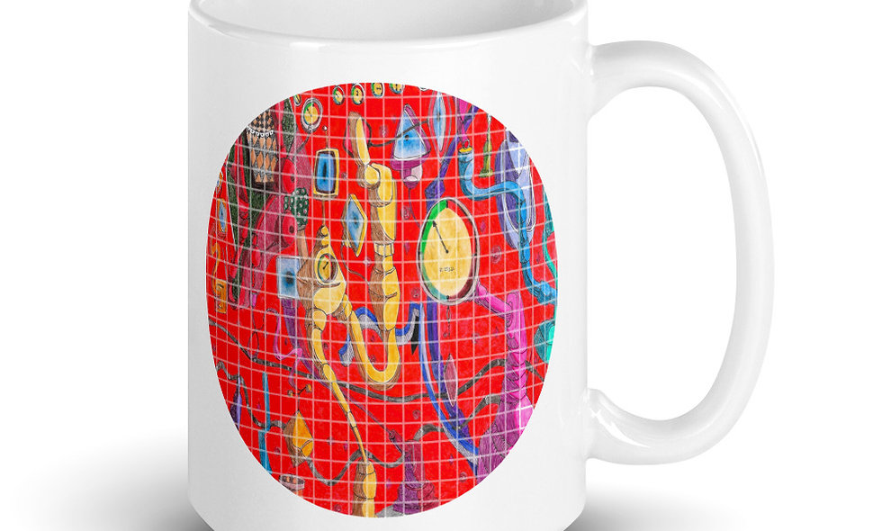White glossy mug - Abstract - Blue, Yellow and Red All Over
