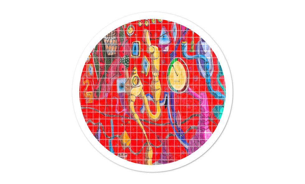 Bubble-free stickers - Abstract - Blue, Yellow and Red All Over