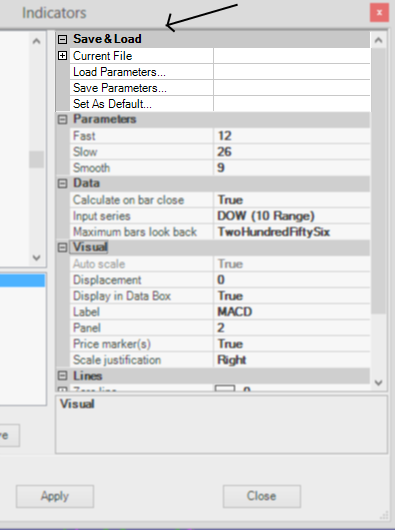 Save load parameter settings NinjaTrader