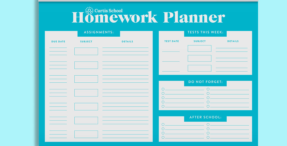 Curtis Homework Planner Notepad • Blue