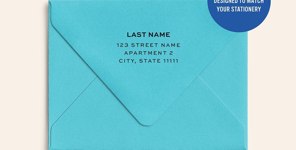 Return Address Printed Colored Envelope- Turquoise