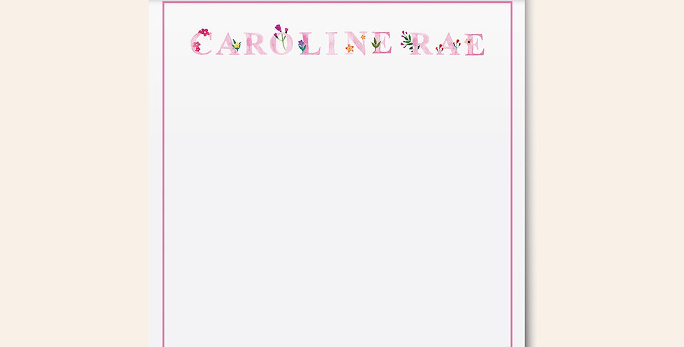 Floral Letters Notepad • Pink