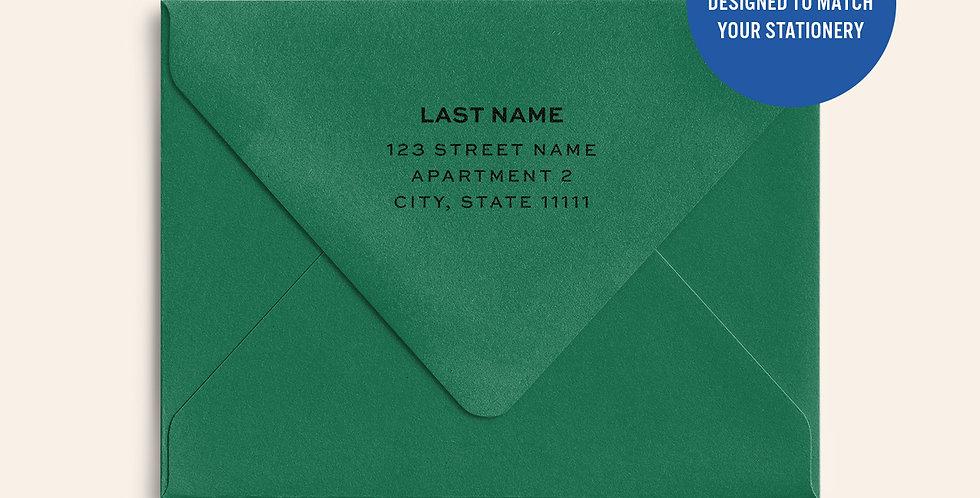 Return Address Printed Colored Envelope- Lockwood Green