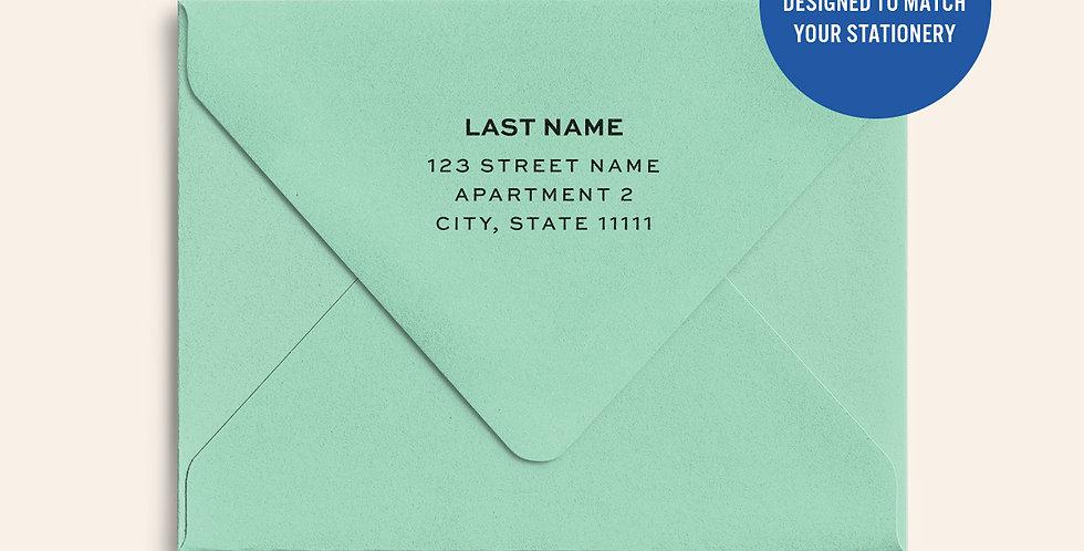 Return Address Printed Colored Envelope- Park Green