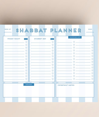 Blue Stripe Shabbat Planner Tear Off Pad