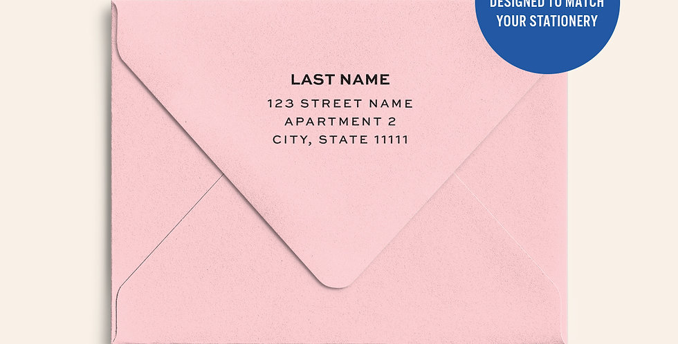 Return Address Printed Colored Envelope- Rose Quartz Metallic