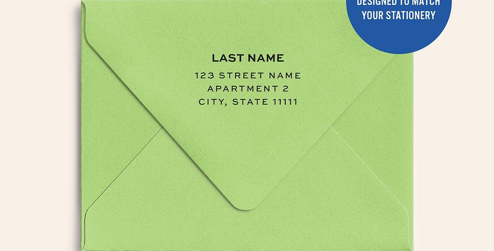 Return Address Printed Colored Envelope- Sour Apple