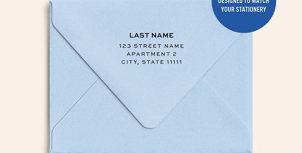Return Address Printed Colored Envelope- Azure Blue