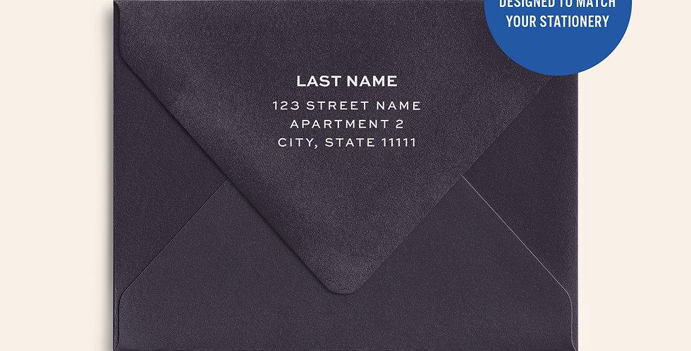 Return Address Printed Colored Envelope- Amethyst