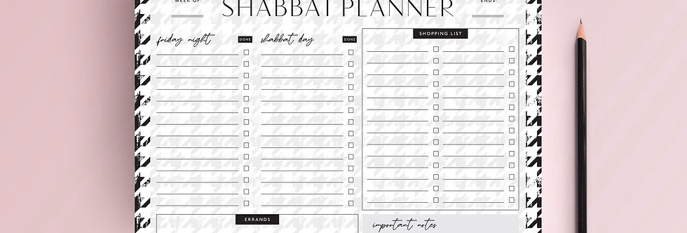 Houndstooth Shabbat Planner Tear Off Pad