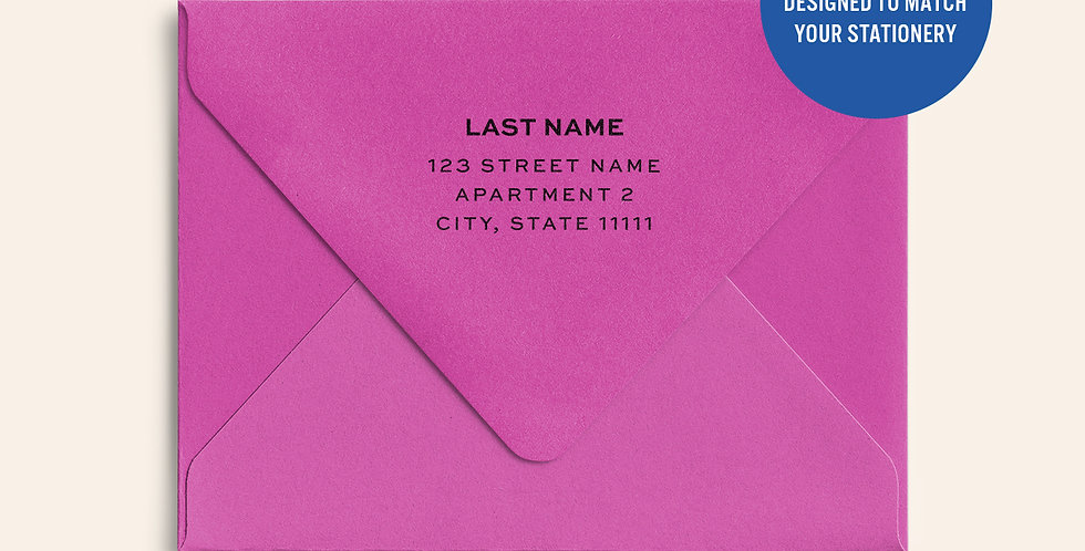 Return Address Printed Colored Envelope- Fuchsia Pink