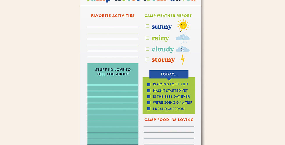 Camp Notepad • Camp Report Card Blue