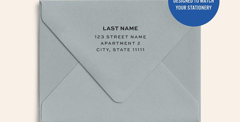 Return Address Printed Colored Envelope- Real Grey