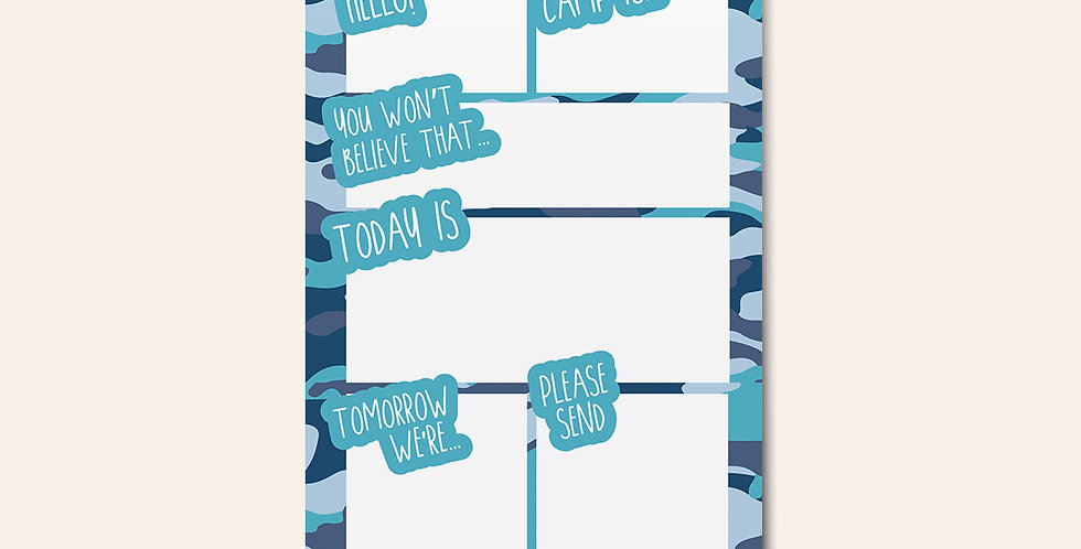 Camp Notepad • Blue Camouflage