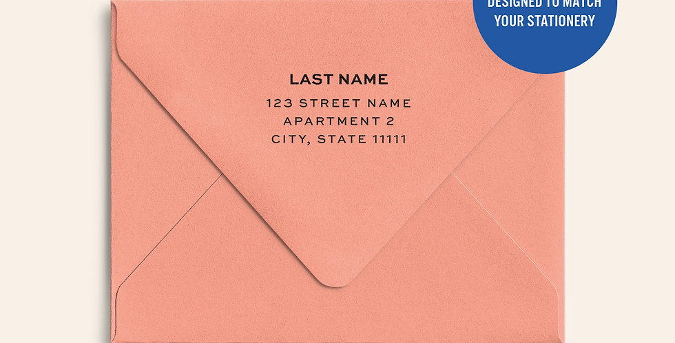 Return Address Printed Colored Envelope- Coral