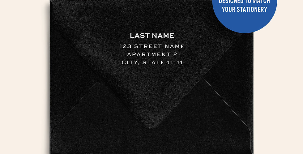 Return Address Printed Colored Envelope-Black