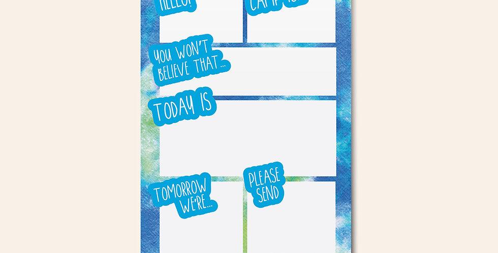 Camp Notepad • Blue Green Tie dye