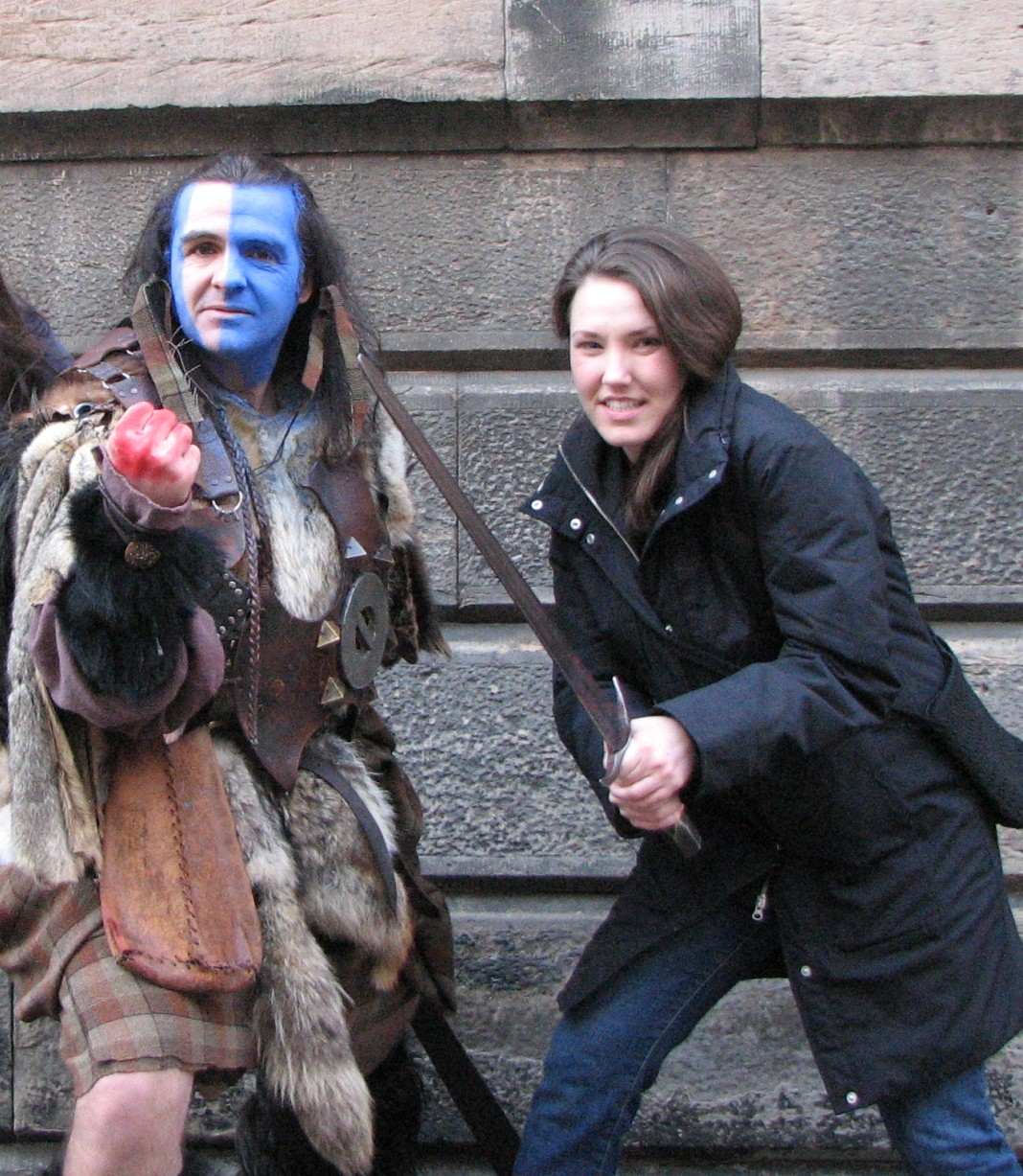 Mindy in Scotland with Cousin William Wallace