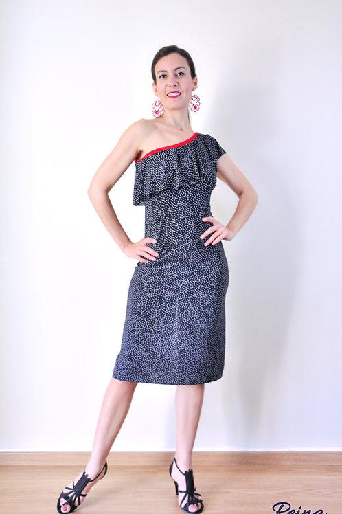 Black polka dot volant dress