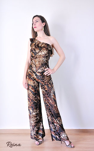 Brown one shoulder jumpsuit