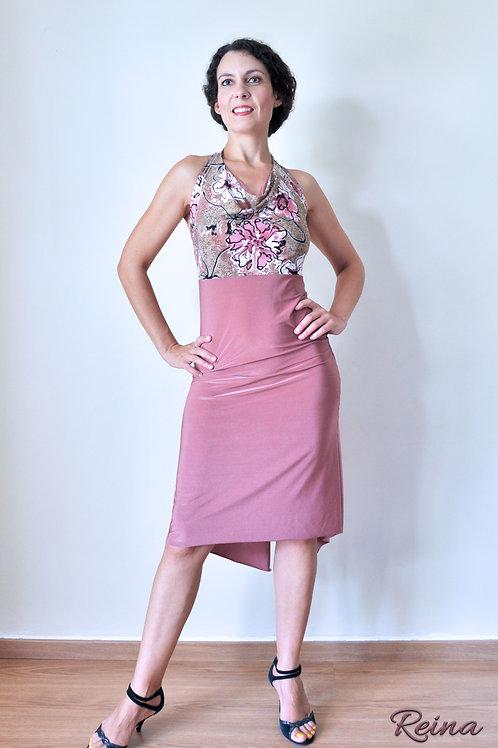 Nude pink floral dress