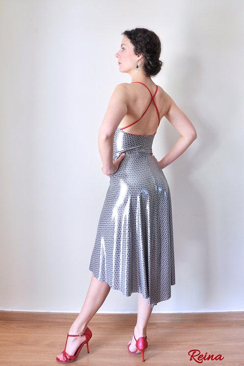 Shiny dress cross back strap