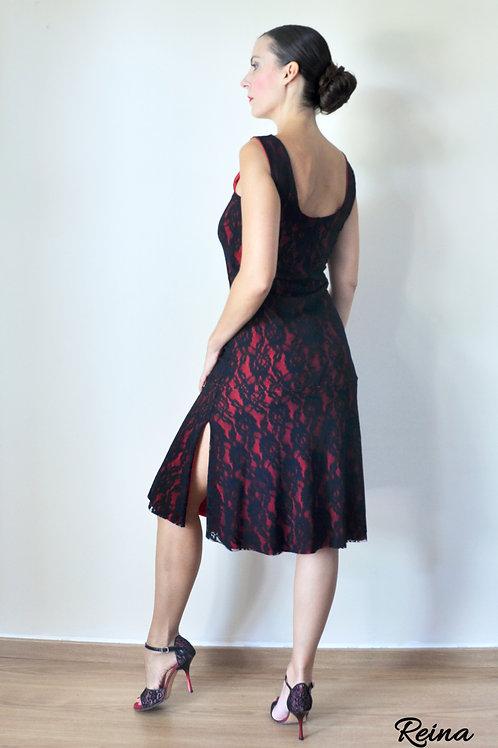Black lace red dress