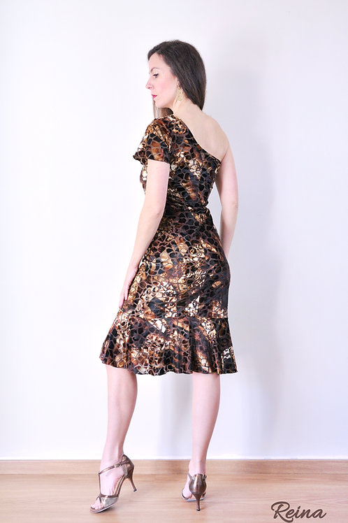 Brown one sleeve dress