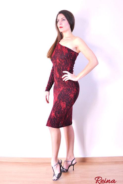 Black-red glitter dress
