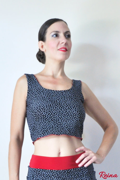 Reversible black polka dot top
