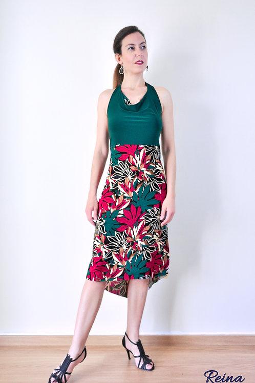 Green leaves print dress
