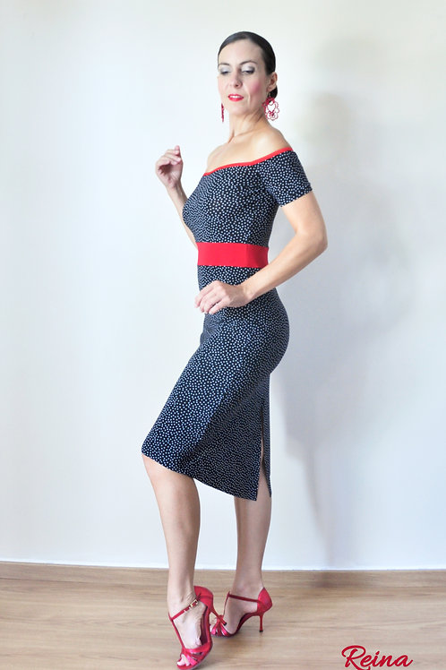 Off shoulder black polka dot dress