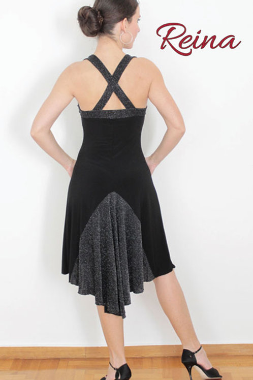 Black dress with strass and tail