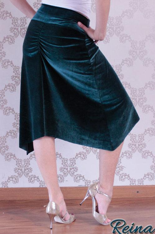 Velvet skirt with slits