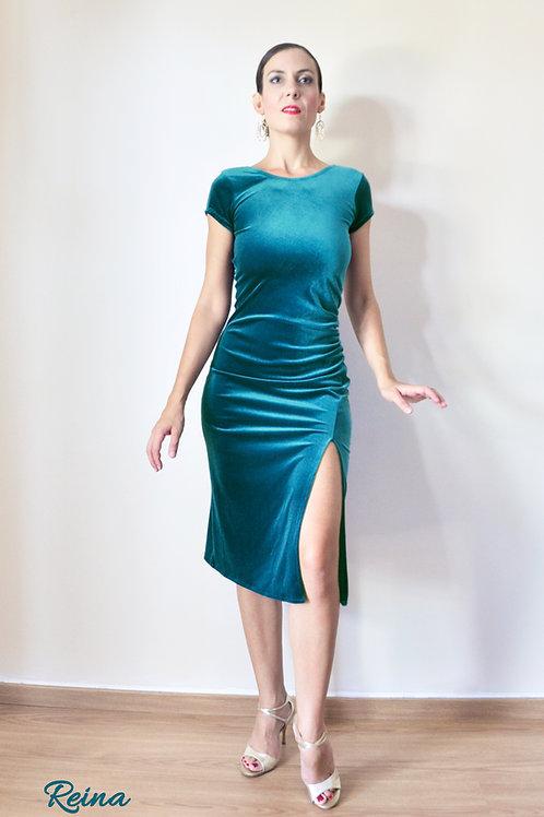 Velvet dress front slit