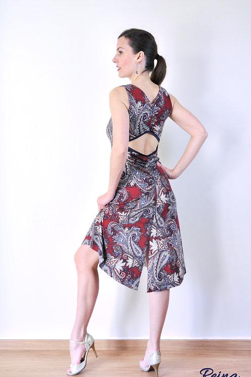 Paisley dress back slit