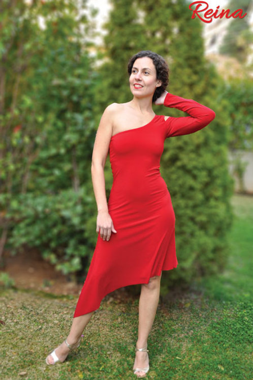 Asymmetrical dress one sleeve
