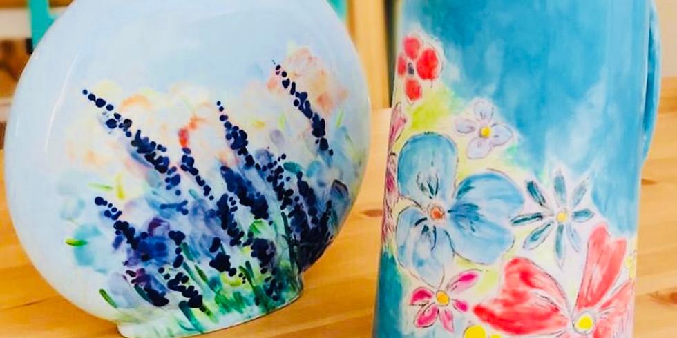 Flowers workshop - ceramic painting evening