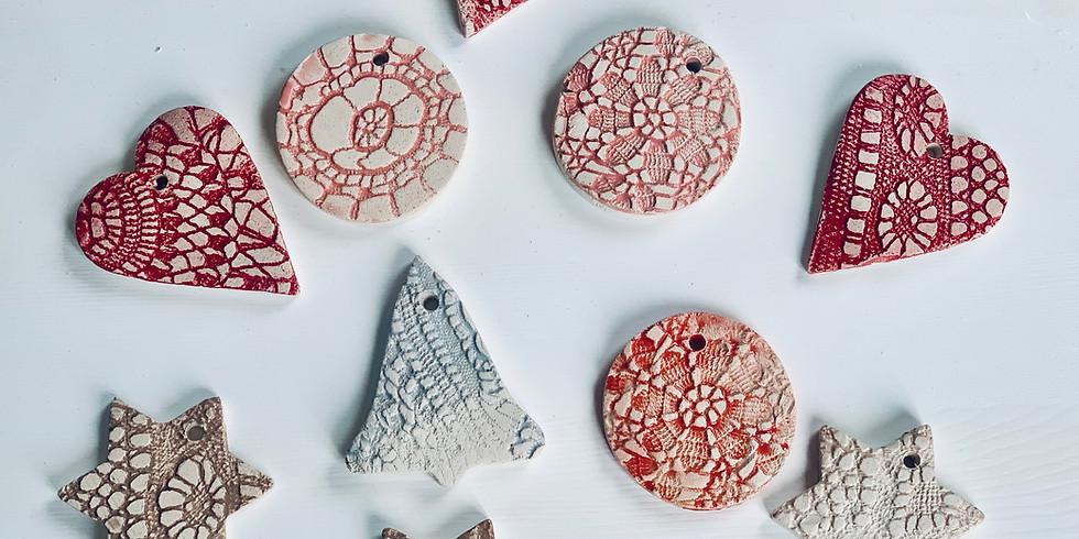Clay Ceramic Xmas Ornaments